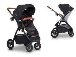 Easygo optimo air anthracite wózek do 22 kg z obracanym siedziskiem na pompowanych kołach + torba dla mamy gratis
