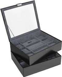 Pudełko na zegarki podwójne Stackers 18 komorowe czarno-szare