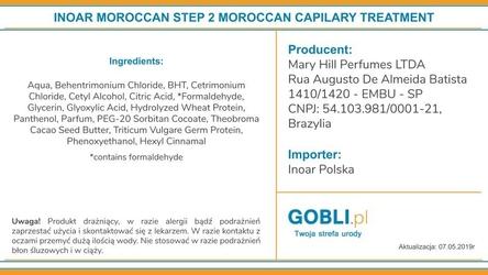 Inoar moroccan keratin kuracja keratynowa do termicznego prostowania włosów 1000ml