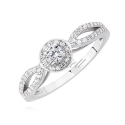 Srebrny pierścionek pr.925 z białą cyrkonią - biała