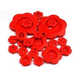 Drewniany guzik kwiatek 20 szt. - czerwony - cze
