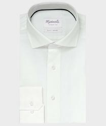 Elegancka biała koszula ze splotem oxford Michaelis z kołnierzem włoskim 44