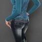 Sweter z koronkowymi plecami, szmaragd 044