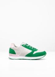Sneakersy bonprix szaro-kryształowy jasnoróżowy - zielony miętowy