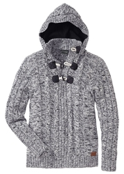 Sweter z kapturem bonprix czarny melanż