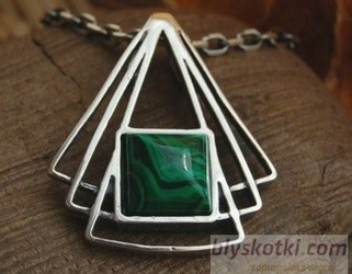 Macaloso - srebrny wisiorek z malachitem