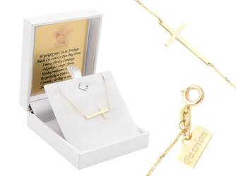 Naszyjnik celebrytka krzyżyk złoto pr. 585 grawer różowa kokardka