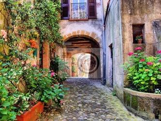 Fototapeta łukowe brukowiec ulicy w toskanii wsi, włochy