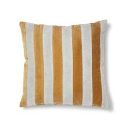 Hk living ::poduszka velvet w paski szaro-złoty 50x50