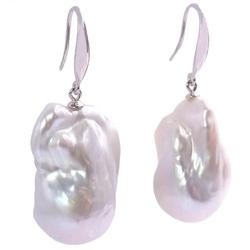 Noriko kolczyki srebrne wiszące ogromne białe perły barokowe