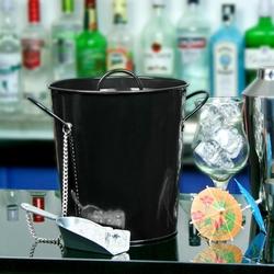 pojemnik na lód wiaderko do lodu z pokrywką 3,4 l czarne + szufelka do lodu