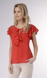 Czerwona letnia bluzka z falbankami