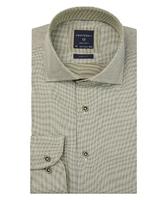 Ekstra długa zielona koszula profuomo w gęsty wzór slim fit 43