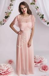 Długa jasno różowa suknia szyfonowa z koronką osłaniającą ramiona ala bolerko 1303