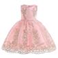Jasno różowa sukienka dla dziewczynki ze złotym haftem