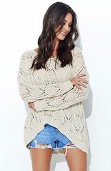 Beżowy Luźny Sweter z Szerokim Dekoltem