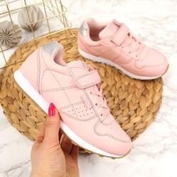 Buty sportowe dziewczęce na rzep różowe american club - różowy