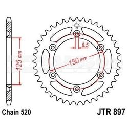 Zębatka tylna stalowa jt 897-38, 38z, rozmiar 520 2301161 ktm exc-f 250, husaberg fs 650