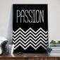 Passion - plakat designerski w zygzaki , wymiary - 20cm x 30cm, kolor ramki - czarny
