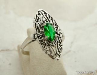Bocono - srebrny pierścionek ze szmaragdem