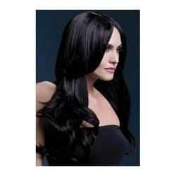 Czarna peruka khloe z długimi włosami
