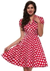 Czerwona rozkloszowana sukienka w białe duże kropki, pin up na wesele 6089-2