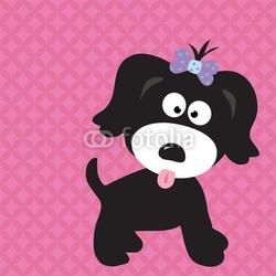 Naklejka samoprzylepna czarna szczeniak dziewczyna na fajnym tle