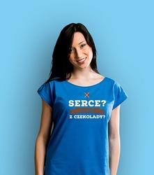 Serce z czekolady t-shirt damski niebieski xxl