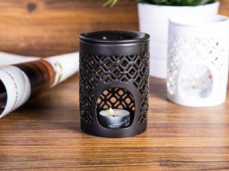 Kominek zapachowy  na olejki porcelanowy na święta bożego narodzenia altom design czarny matowy 8,5 x 11,5 cm dek. romby