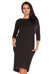 Czarna dzianinowa stylowa sukienka z wiązaniem na karku
