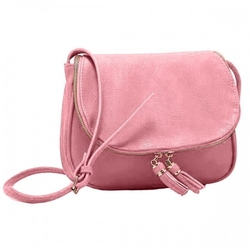 Skórzana torebka damska  listonoszka różowa