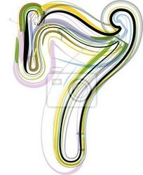 Naklejka organiczne ilustracji czcionki. numer 7