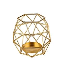 Świecznik metalowy geometryczny altom design złoty 9 cm