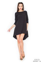 Czarna Asymetryczna Sukienka z Plisami