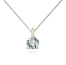 Staviori naszyjnik. 1 diament, szlif brylantowy, masa 0,15 ct., barwa h, czystość si1-si2. białe złoto 0,585. wysokość 6,5 mm. średnica 3,5 mm.  długość regulowana 40cm lub 43cm.