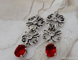 Fendi - srebrne kolczyki z rubinem