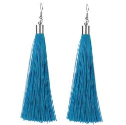 Kolczyki frędzle długie wiszące chwosty niebieskie - niebieskie