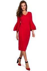 Elegancka sukienka midi z falbanami przy rękawach czerwona k002