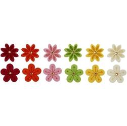 Filcowe kwiatki ozdobne z kryształkiem 12 szt.