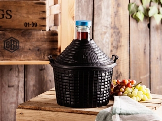 Butla  balon  gąsior do wina w koszu browin 5 l