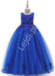 Długa sukienka dla dziewczynki w kolorze królewskim niebieskim 212