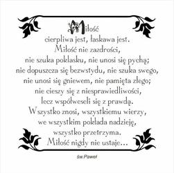Ślubny stempel gumowy Miłość cierpliwa jest...