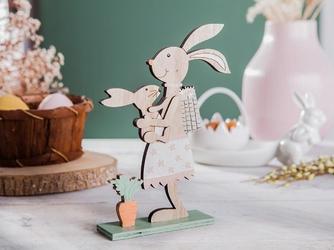 Figurka drewniana  ozdoba świąteczna na wielkanoc pani zając z zajączkiem altom design 21 x 15 cm