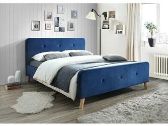 Łóżko tapicerowane ardito 160x200 cm granatowe