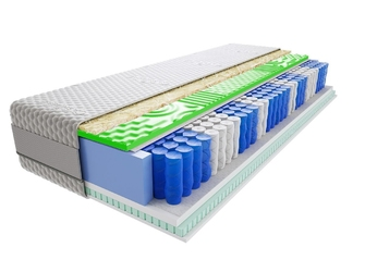 Materac kieszeniowy jaśmin lux visco molet 150x200 cm średnio twardy 2x lateks profilowane visco memory