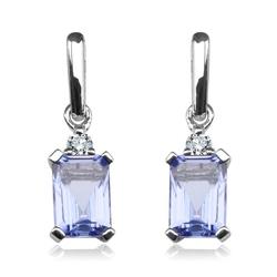 Staviori kolczyki. 2 diamenty, szlif brylantowy, masa 0,06 ct., barwa h, czystość i1. 2 tanzanity, masa 1,20 ct.. białe złoto 0,585. wymiary 4x16 mm.