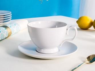 Filiżanka śniadaniowa do herbaty i kawy ze spodkiem porcelana mariapaula biała 350 ml