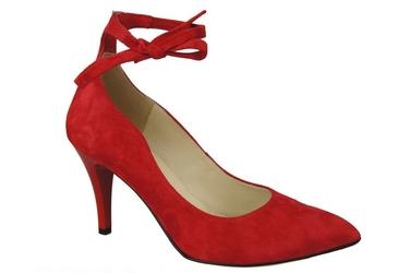 Obuwie damskie czółenka skóra naturalna zamszowa czerwone 983 elitabut - czerwone