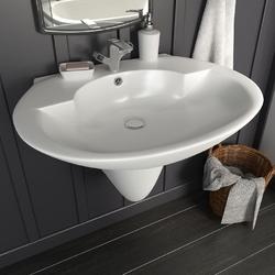 Vidaxl umywalka ścienna, ceramiczna, biała, 690 x 520 x 210 mm