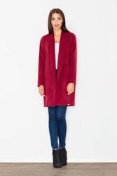 Bordowy krótki klasyczny płaszcz damski